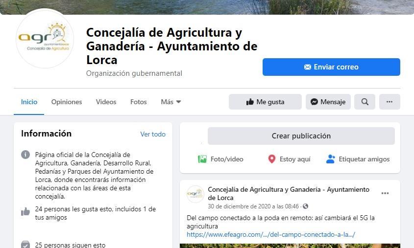 La Concejalía de Agricultura y Ganadería de Lorca pone en marcha una nueva página oficial en Facebook ampliando los canales de información del Ayuntamiento