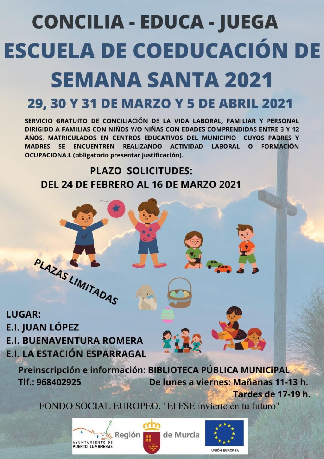 El Ayuntamiento lumbrerense organiza una Escuela de Coeducación de Semana Santa gratuita para ayudar a la conciliación de las familias del municipio