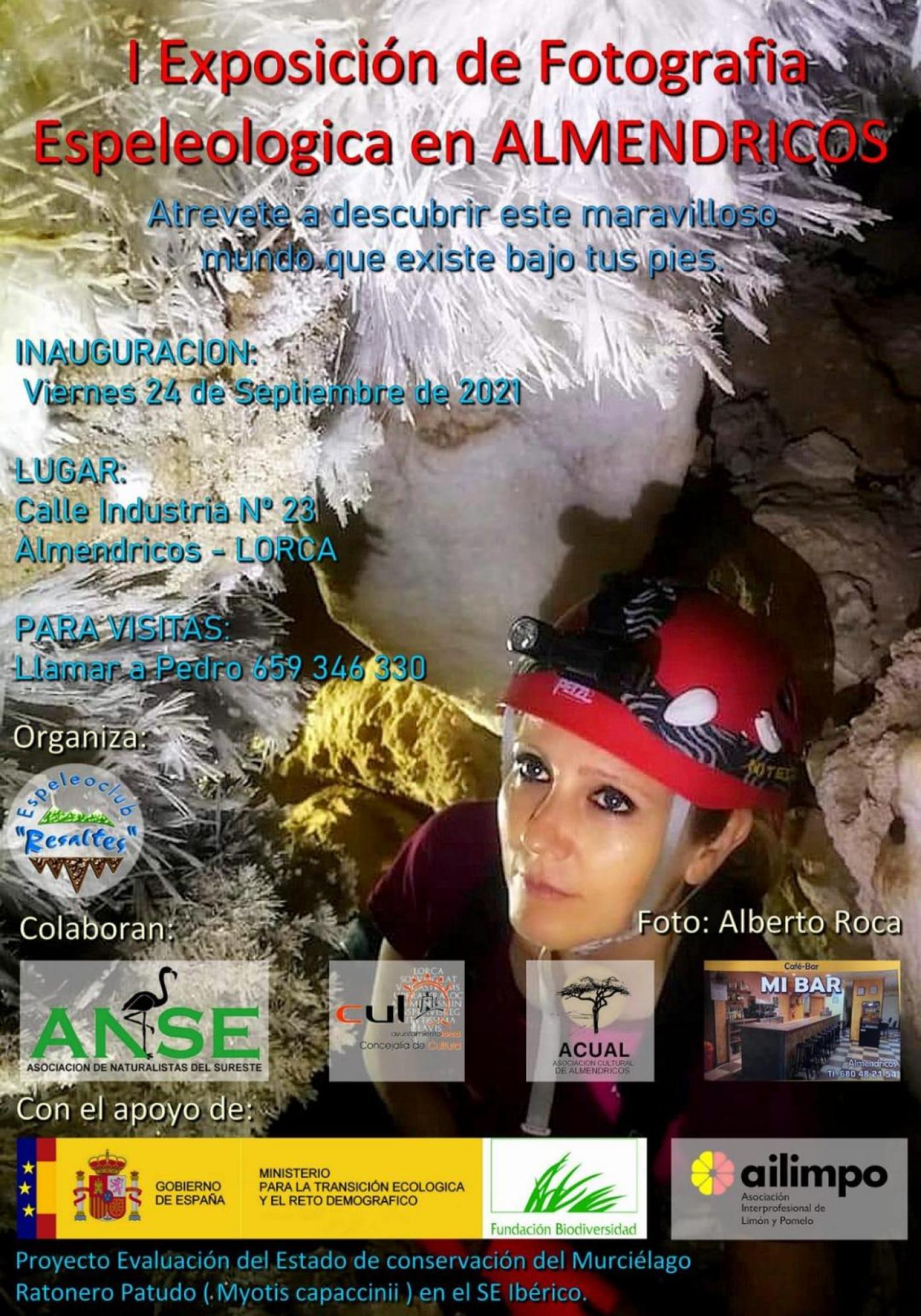 El Ayuntamiento colabora en la 'I Exposición de fotografía espeleológica en Almendricos' para concienciar del respeto a las cavidades y minas que ofrecen minerales impresionantes