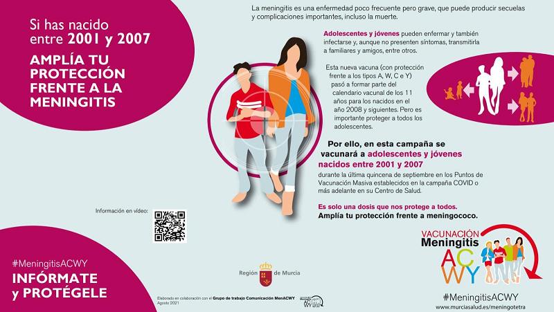 """El CD """"Felipe VI"""" de Lorca acogerá este próximo martes y miércoles una jornada de vacunación frente a la meningitis para los nacidos entre 2001 y 2007"""
