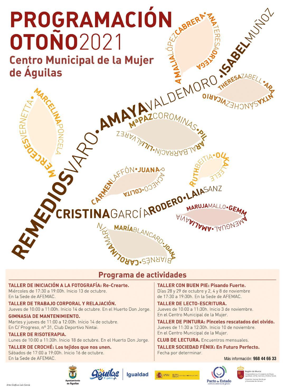 La Concejalía de Igualdad de Águilas presenta su oferta de talleres de otoño