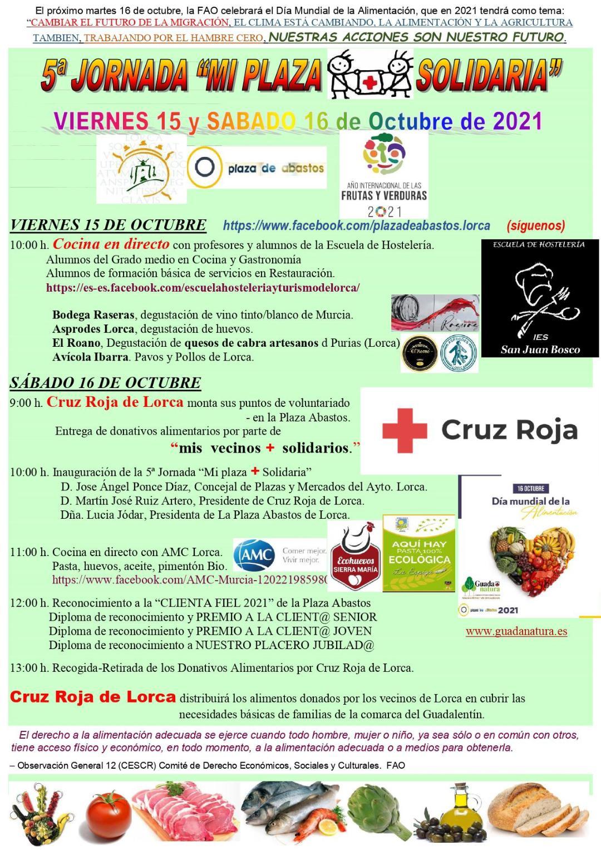 Lorca celebrará la V edición de la jornada 'Mi plaza + solidaria' hoy viernes y mañana sábado en la Plaza de Abastos