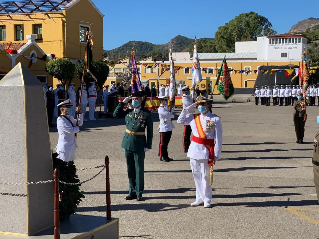 La Armada organiza un Izado Solemne de Bandera en Cartagena con motivo del Día de la Fiesta Nacional