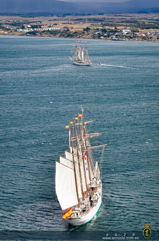 """El buque-escuela """"Juan Sebastián de Elcano"""" finaliza su participación en los actos conmemorativos del V Centenario del descubrimiento del Estrecho de Magallanes"""