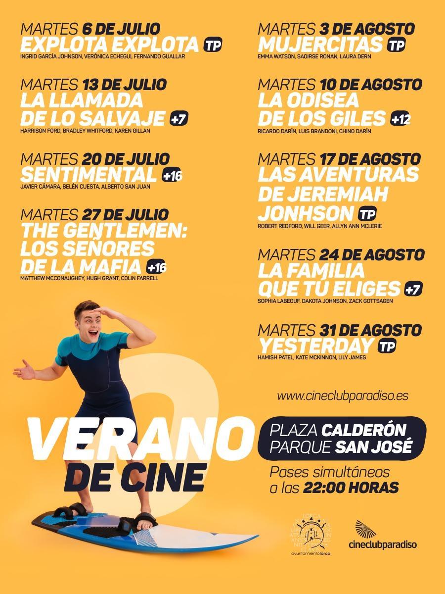 """La programación de """"Cine de Verano"""" de Lorca continúa hoy martes, con la comedia española 'Sentimental' en el Parque de San José y la Plaza de Calderón"""