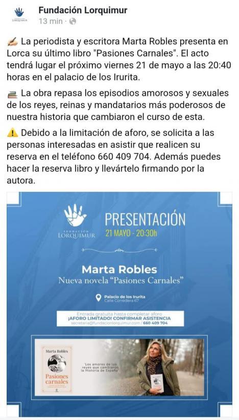 """Marta Robles presenta hoy en Lorca el libro """"Pasiones Carnales"""""""