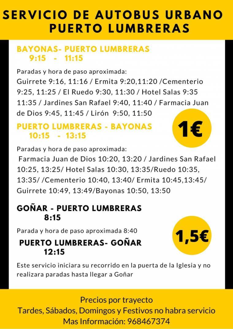 A partir de este lunes se restablecen las líneas de autobús que conectan Puerto Lumbreras con Almendricos y Lorca