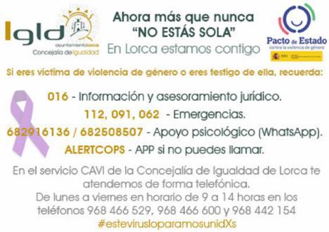 La Concejalía de Igualdad refuerza la asistencia, vía telefónica, a las usuarias del Centro de Atención Especializada a Víctimas de Violencia de Género de Lorca